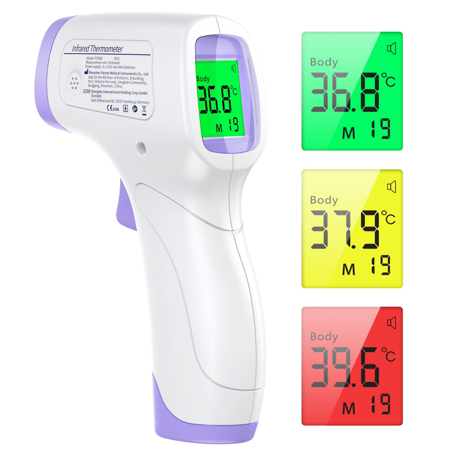 KKmier Forehead Thermometer for Adults No Contact Infrared Thermometer PC868